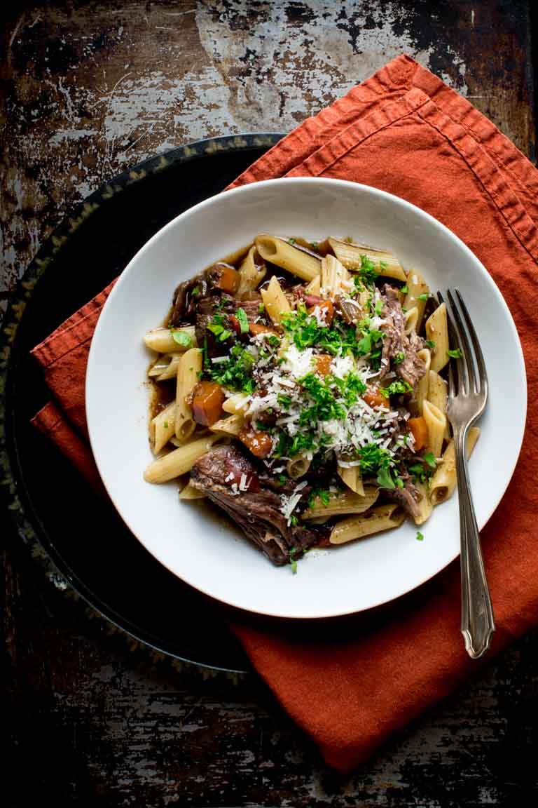 Slow Cooker Beef Chuck with Pasta in a bowl