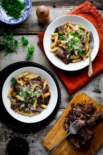 This Slow Cooker Beef with Pasta and Porcini Mushrooms is comfort food perfection that is assembled the day before and then cooked in your slow cooker, making it an awesome weeknight dinner! | Healthy Seasonal Recipes | Katie Webster