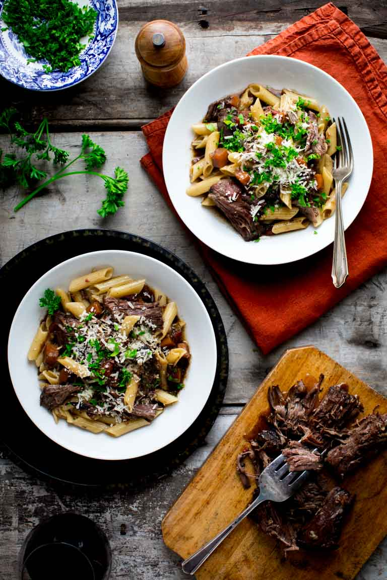 slow cooker beef chuck with pasta and porcini mushrooms