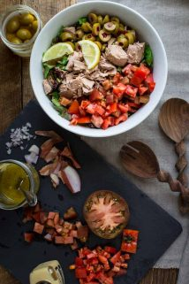 My favorite fast and healthy lunch ever! Chopped Salad with Tomatoes, Olives and Tuna on Healthy Seasonal Recipes