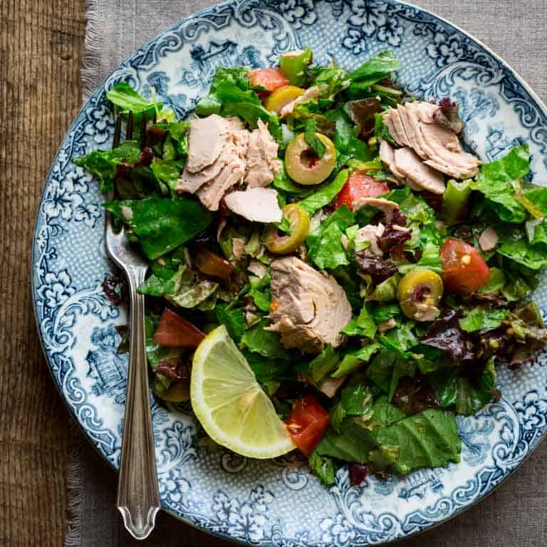 Chopped Salad with Tomatoes, Olives and Tuna