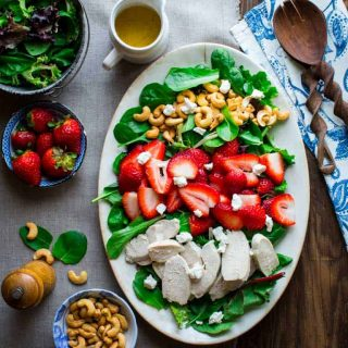 This Green Salad with Chicken, Strawberries and Goat Cheese is an awesome entree salad for your next brunch, lunch or dinner. #lowcarb #glutenfree #saladmonth #entreesalad  Healthy Seasonal Recipes
