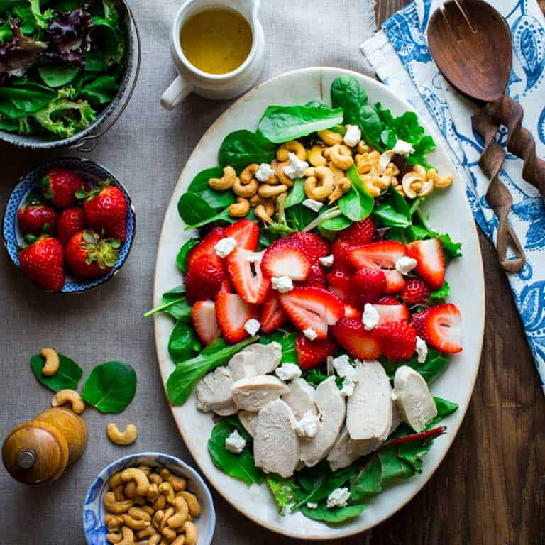 Mesclun Greens Salad with Chevre, Cashews, Chicken and Strawberries
