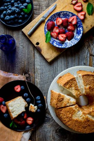 Give me a simple, fresh slice of airy Angel Food Cake piled with fruit and I am in heaven.It is the perfect dessert to end a warm Summer night of grilling and eating outside with your family and friends!   Healthy Seasonal Recipes   Katie Webster