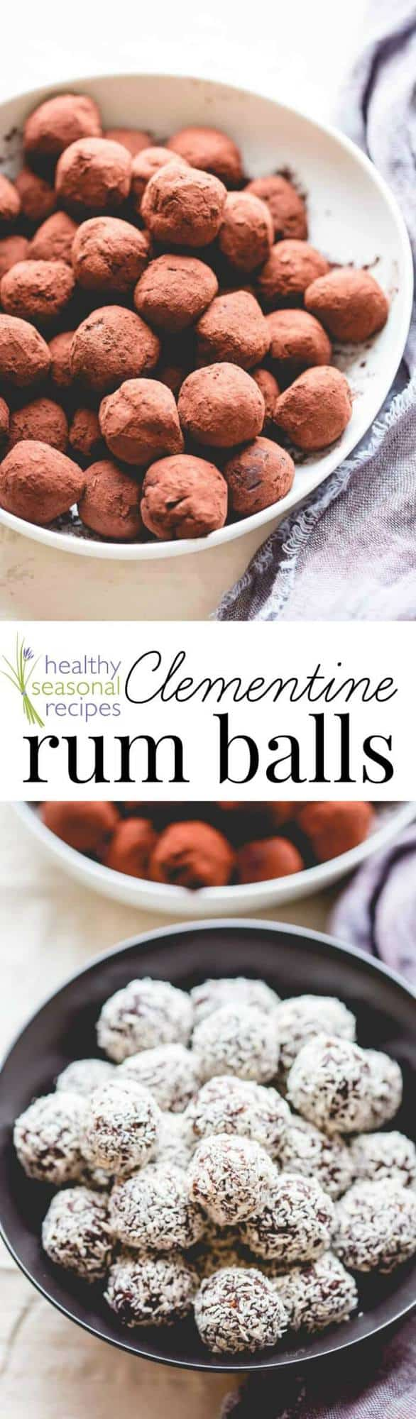 rum ball photo collage with text