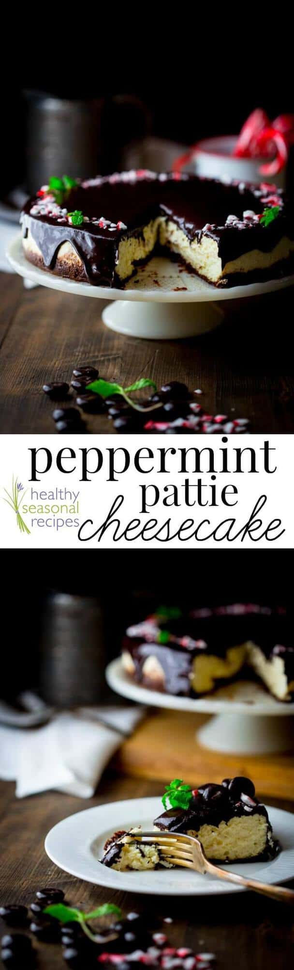 Cheesecake with peppermint candies photo collage with text