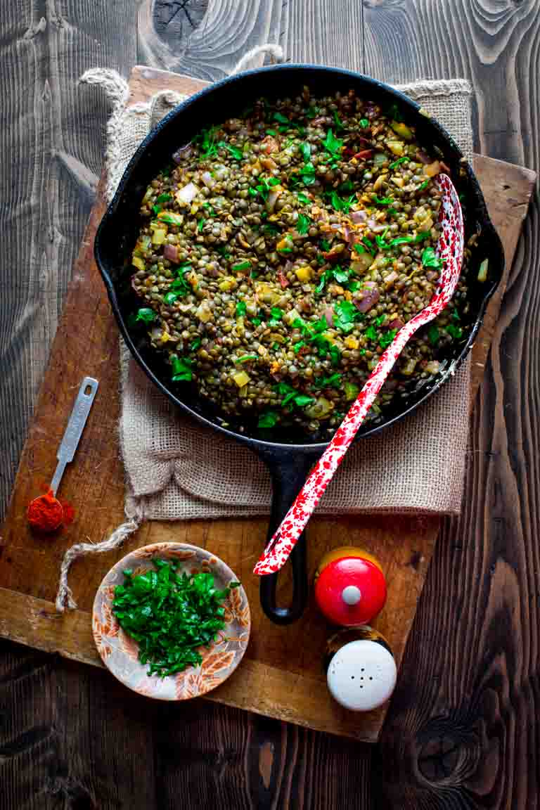 Lentils with Bacon on Healthy Seasonal Recipes by Katie Webster