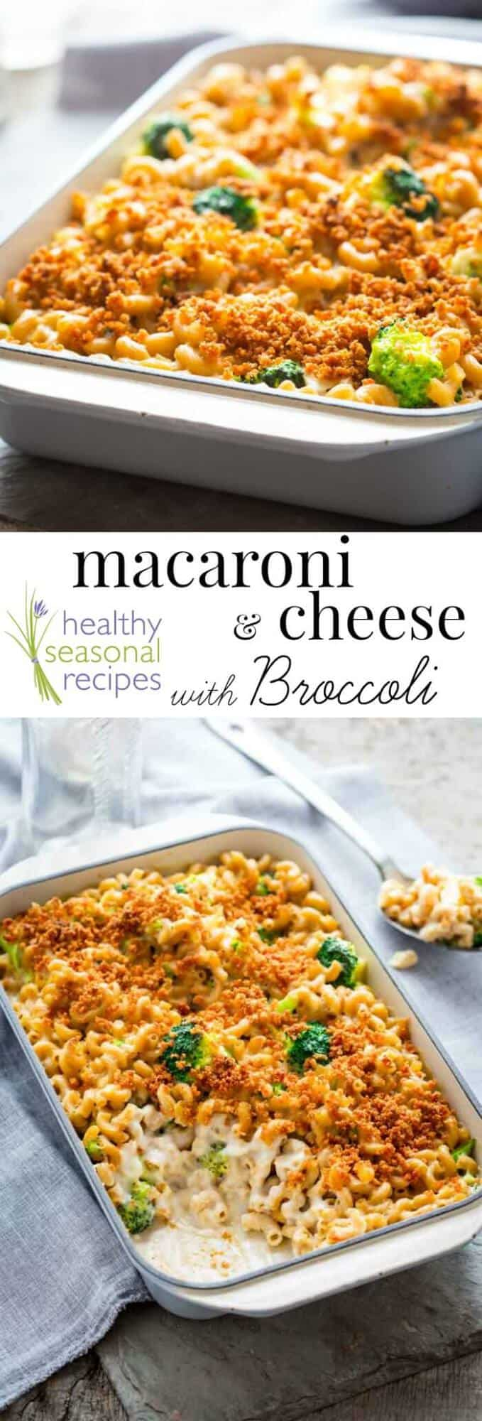 Macaroni and Cheese with Broccoli, made from scratch with cheesy white cheddar sauce, crunchy breadcrumbs, whole-grain pasta and broccoli. Healthy Seasonal Recipes by Katie Webster #comfortfood #kidfriendly #macandcheese #healthy #broccoli #pasta