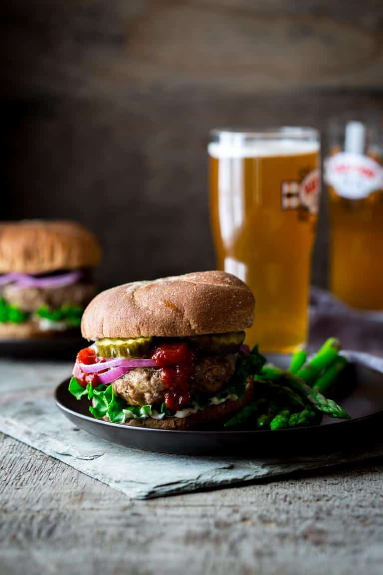 These Portobello and Swiss Beef Burgers are a healthier make-over of the all-American classic. And they're ready in under 30 minutes, so you can get a delicious kid-friendly dinner on the table lickety-split! | Healthy Seasonal Recipes | Katie Webster