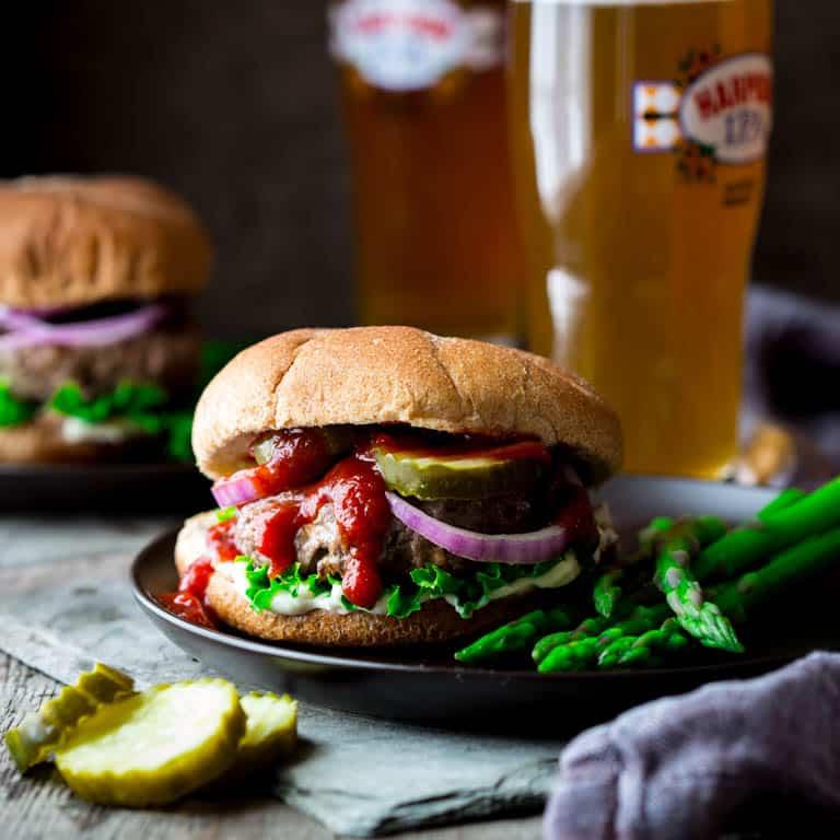 portobello and swiss beef burgers