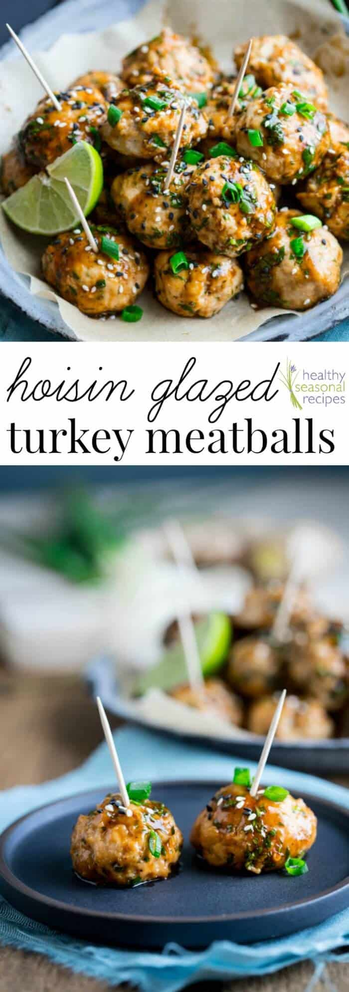 Hoisin Glazed Asian Turkey Meatballs - a fun new football snack to share with friends! Get the recipe on Healthy Seasonal Recipes by Katie Webster #football #superbowl #appetizer #snack #turkey #asian #hoisin #meatballs