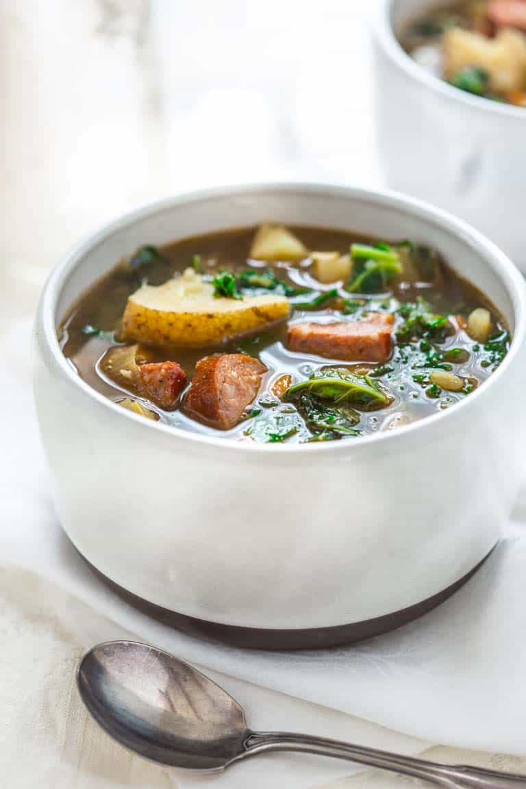 Potato and Kale Stew with Andouille Sausage on Healthy Seasonal Recipes by Katie Webster