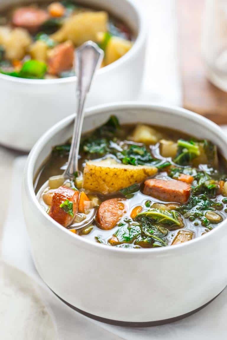 potato and kale soup with andouille