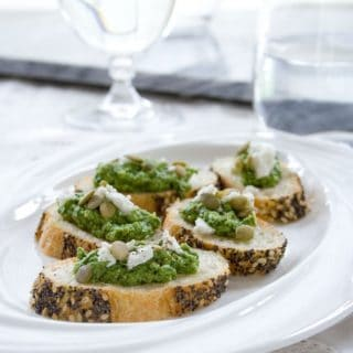 Sorrel Pesto made from sorrel leaves, feta and pumpkin seeds