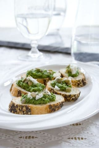 Sorrel Pesto made from sorrel leaves, feta and pumpkin seeds