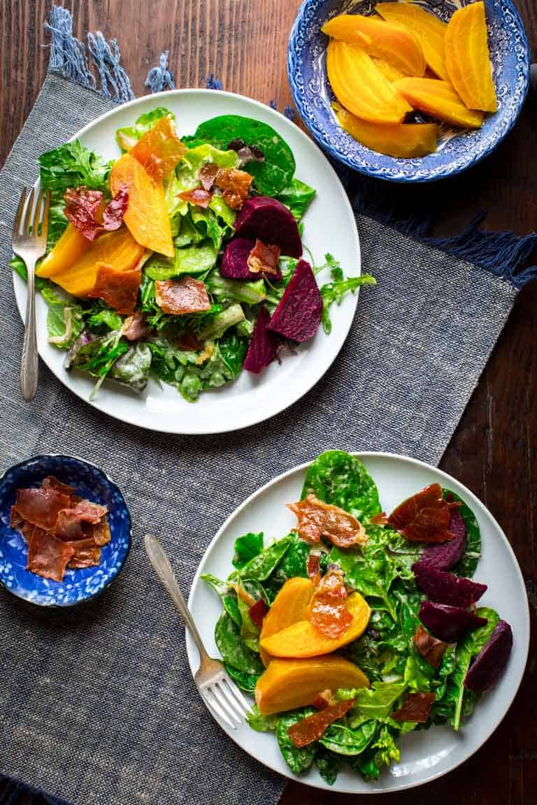 This Green Salad with Beets and Prosciutto Chips is a Super Star. This amazing entree salad will tantalize every one of your senses while at the same time coming in at only 200 calories and 5 grams of fat per serving. | Healthy Seasonal Recipes | Katie Webster