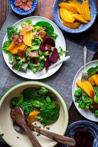 This Green Salad with Beets and Prosciutto Chips is a Super Star. This amazing entree salad will tantalize every one of your senses while at the same time coming in at only 100 calories and 5 grams of fat per serving.   Healthy Seasonal Recipes   Katie Webster