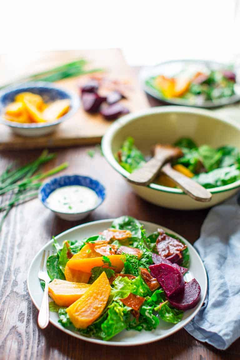 This Green Salad with Beets and Prosciutto Chips is a Super Star. This amazing salad will tantalize every one of your senses while at the same time coming in at only 200 calories and 5 grams of fat per serving. | Healthy Seasonal Recipes | Katie Webster