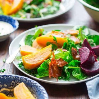 This Green Salad with Beets and Prosciutto Chips is a Super Star. This amazing entree salad will tantalize every one of your senses while at the same time coming in at only 100 calories and 5 grams of fat per serving. | Healthy Seasonal Recipes | Katie Webster