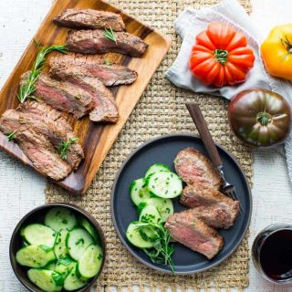 Grilled Flank Steak with Tomato Herb Mop Sauce is a simple paleo-friendly dinner featuring grass-fed flank steak. | Healthy Seasonal Recipes | Katie Webster #paleo #grilling #grassfedbeef
