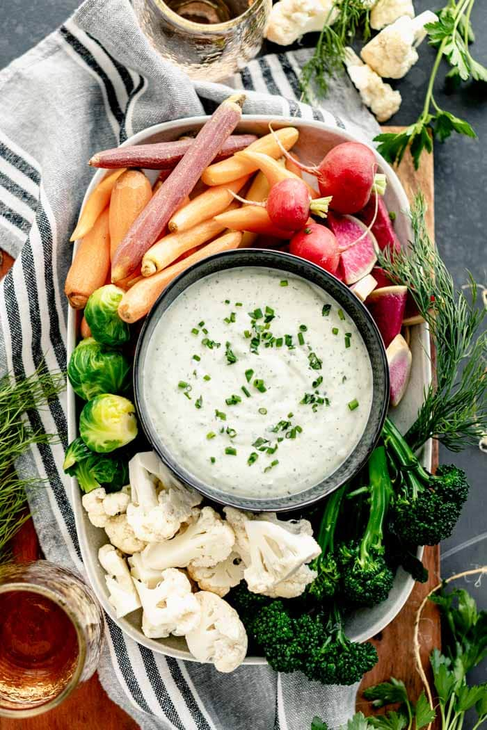 Ranch Dip and veggies platter from overhead
