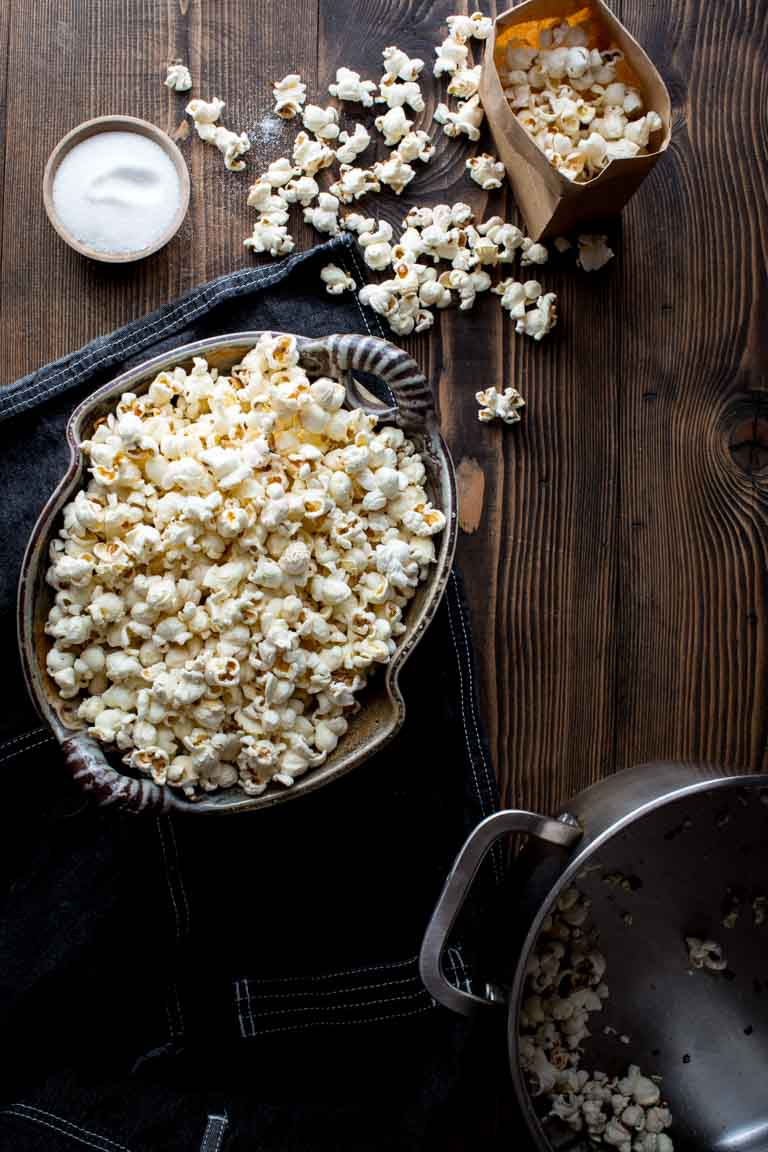 stovetop popcorn in a bowl