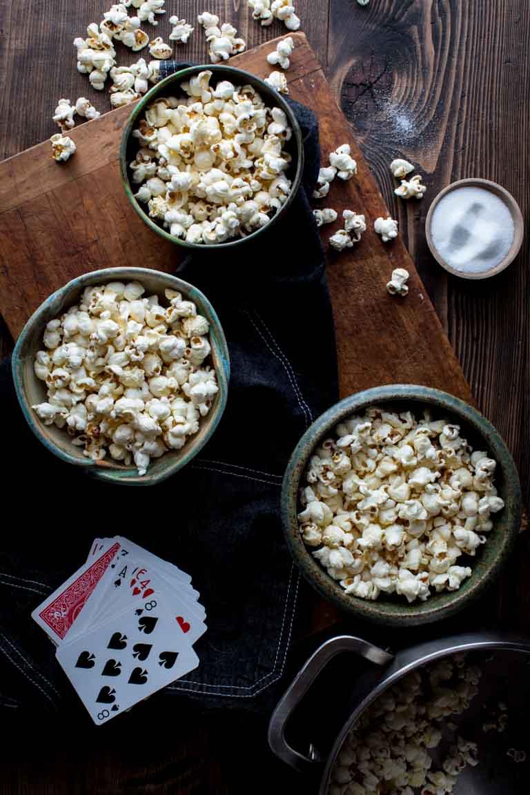 bowls of stovetop popcorn