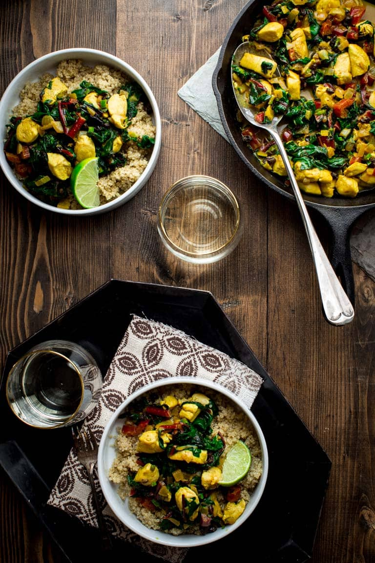 This Chicken and Chard with Curry is a One-Pot-Wonder! It's a super flavorful and healthy all-in-one dinner that just also happens to be gluten free, dairy free and paleo friendly. Healthy Seasonal Recipes | Katie Webster