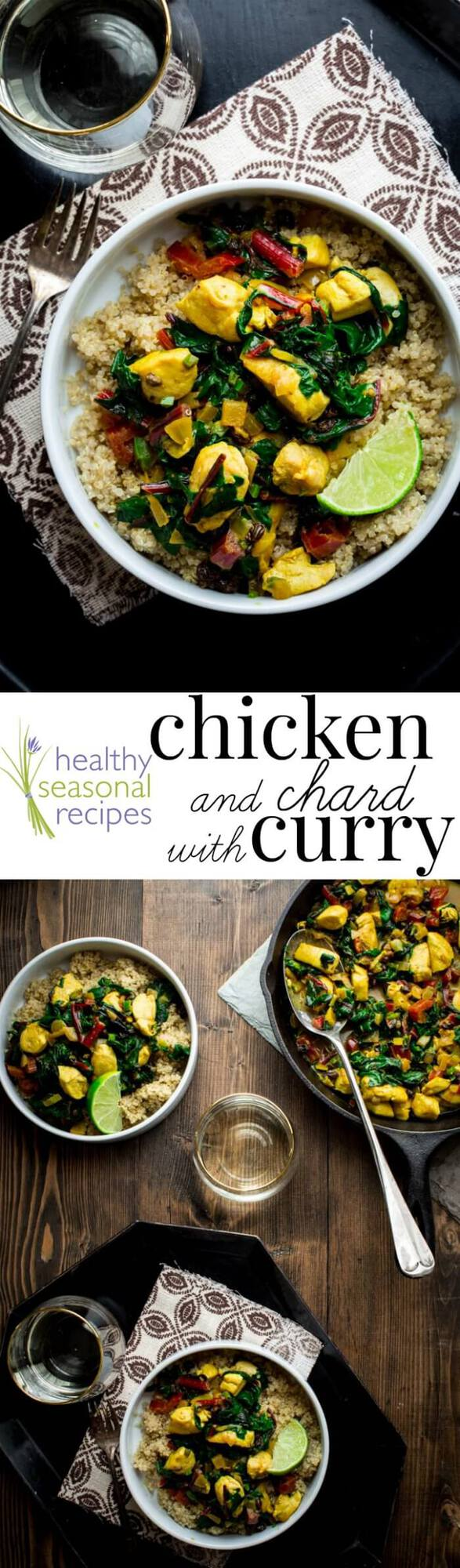 Chicken Chard curry photo collage with text overlay