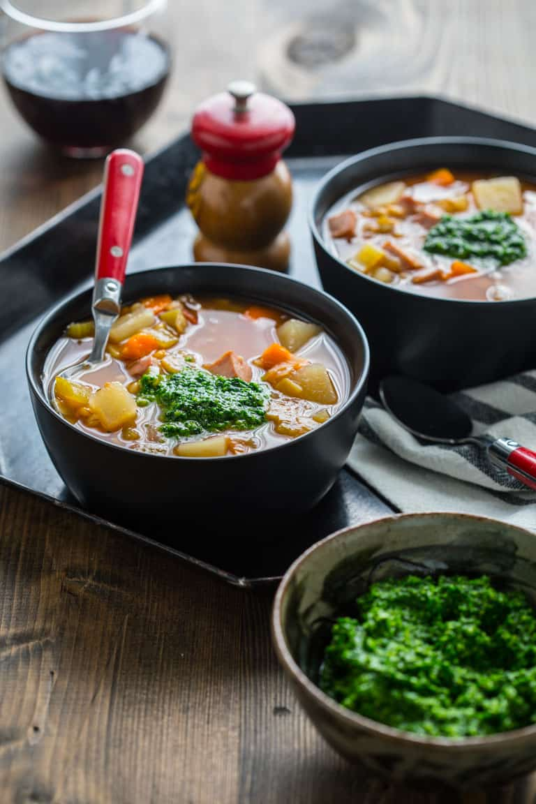 This Slow Cooker Ham Barley Soup with Spinach Pesto is the perfect weeknight vegetable packed delicious dinner. |Healthy Seasonal Recipes | Katie Webster #slowcooker #soup #weeknightdinner