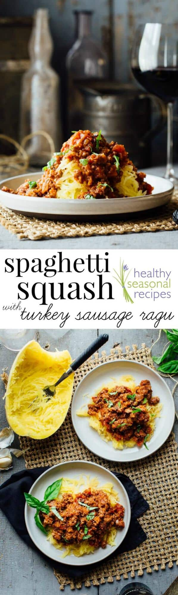 spaghetti squash with meat sauce and basil in a bowl with text overlay
