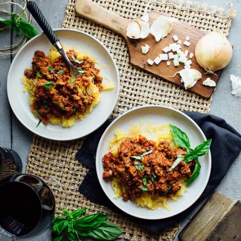 spaghetti squash with turkey sausage ragu