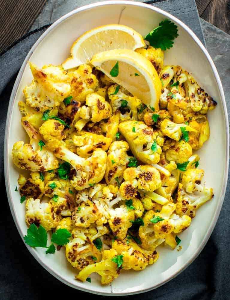 Curry Roasted Cauliflower | Side Dish | Vegan | Vegetables | Paleo | Gluten Free | Dairy Free | Healthy Seasonal Recipes