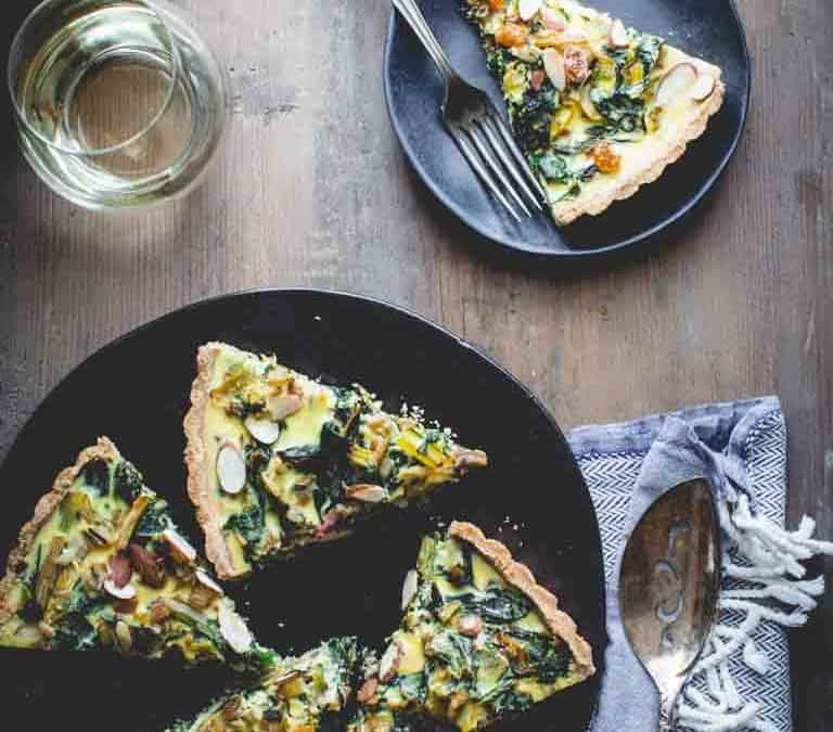 swiss chard tart with chevre and leeks