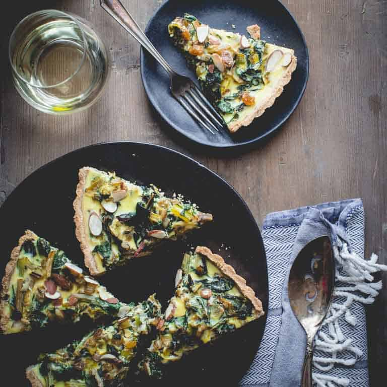 Swiss Chard Tart with Goat Cheese (chevre) and Leeks on Healthy Seasonal Recipes | Vegetarian Main-Course for the holidays