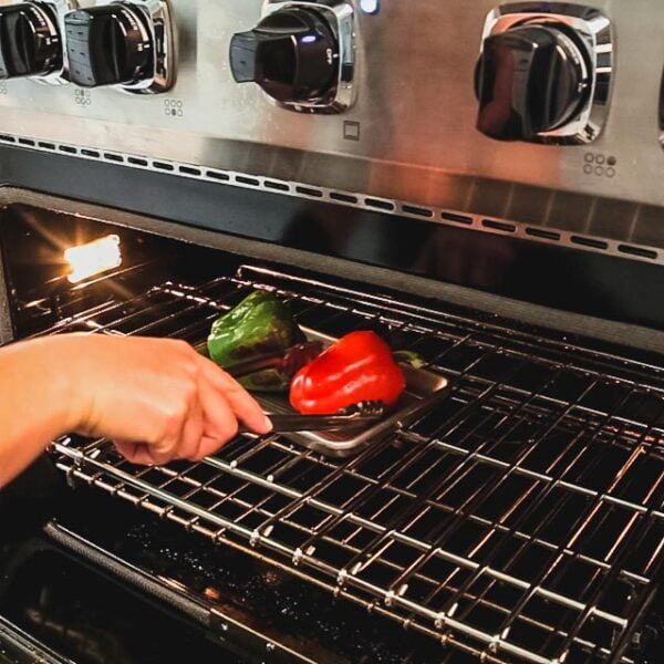 turning the peppers under the broiler