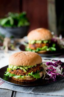 These Southwest Bean Burgers are savory and tender patties of goodness that will satisfy all of your vegetarian comfort food cravings! | Healthy Seasonal Recipes | Katie Webster