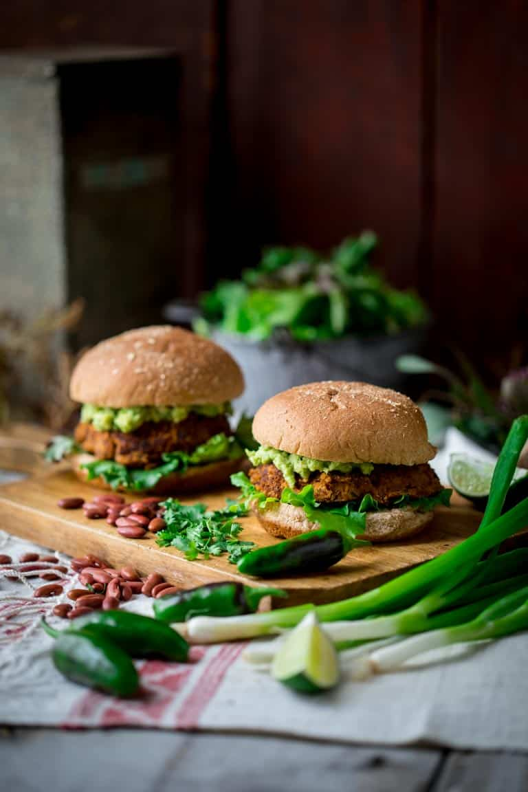 Southwest Bean Burgers on a cutting board