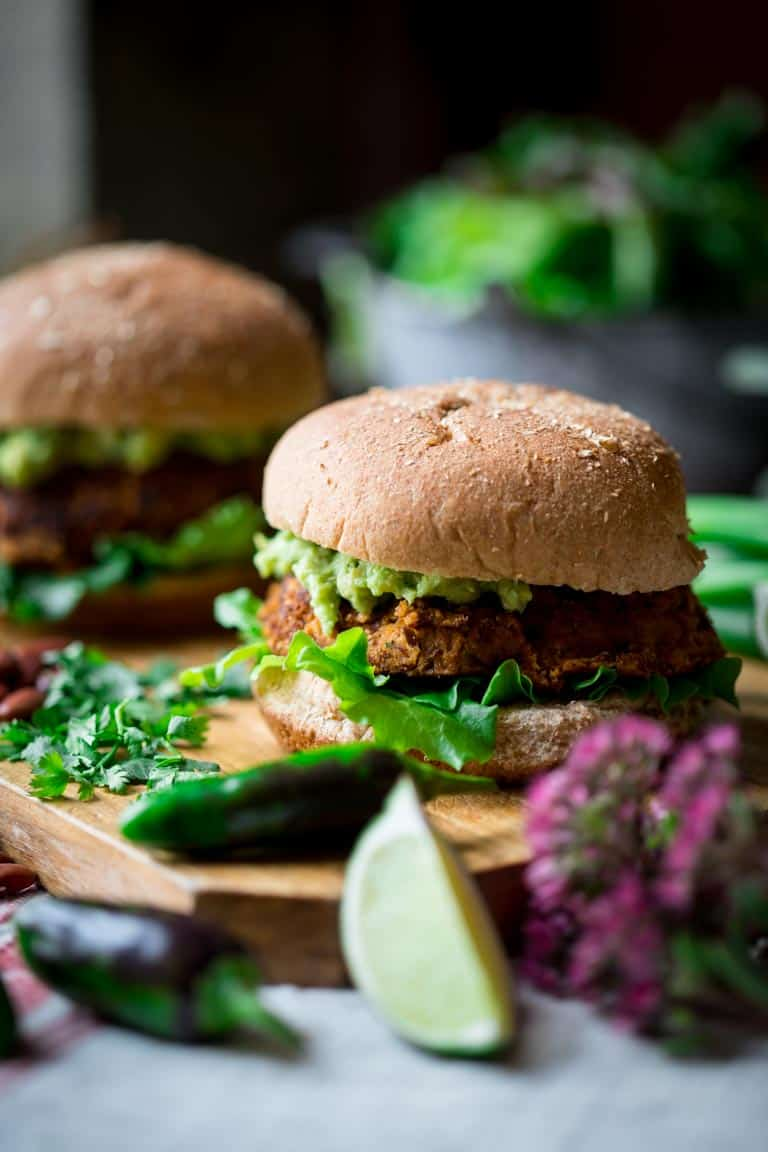 Bean Burgers with guacamole on top