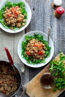 Warm Quinoa Arugula Salad | Healthy Seasonal Recipes #glutenfree #vegan #quinoa #vegetarian