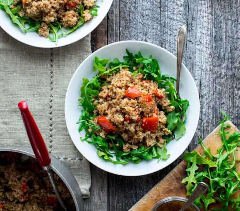 one pot vegan quinoa and arugula salad