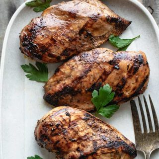 a close up of grilled chicken