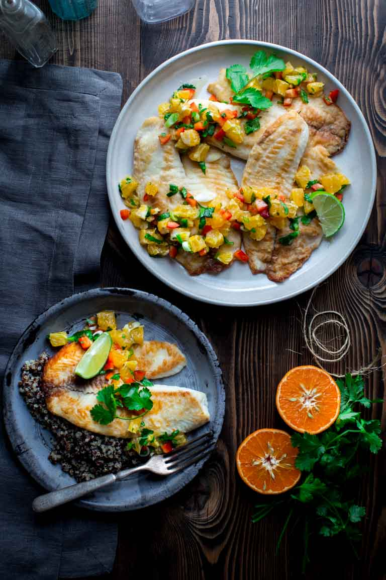Tilapia with Tangerine Salsa is a fast and healthy weeknight meal | by Katie Webster on Healthy Seasonal Recipes