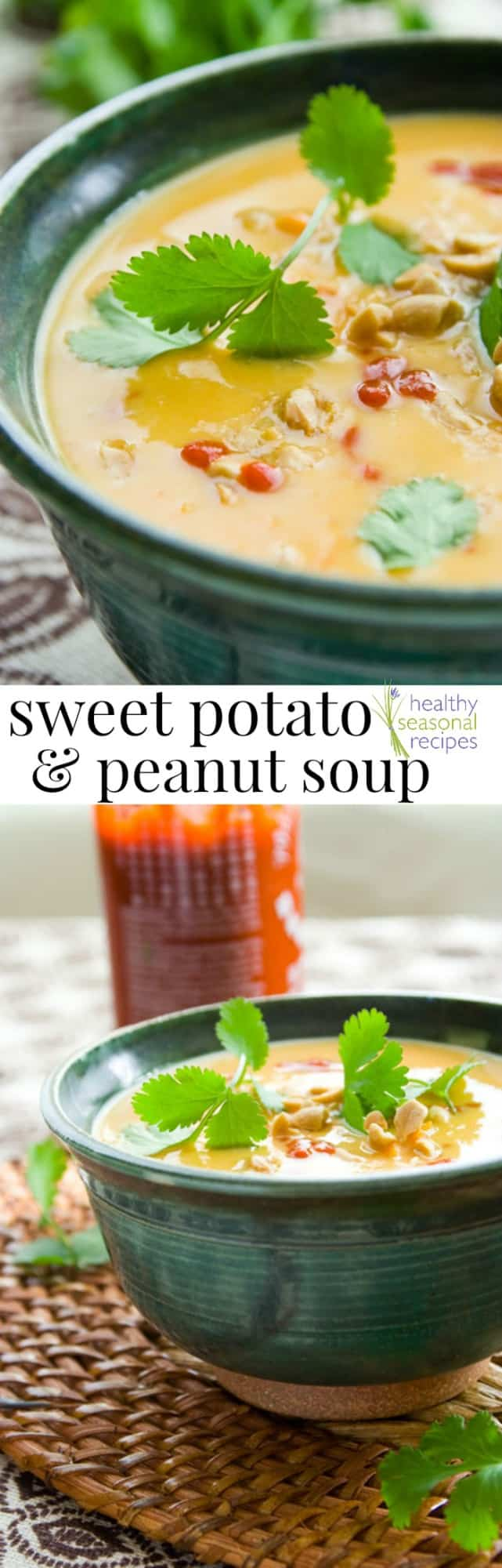 A bowl of soup on a table, with Potato and Peanut with sriracha and text