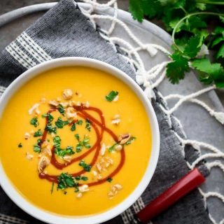 This Sweet Potato and Peanut Soup is one of the Best of Healthy Seasonal Recipes ever. And it just happens to be naturally gluten-free and vegan! | Katie Webster