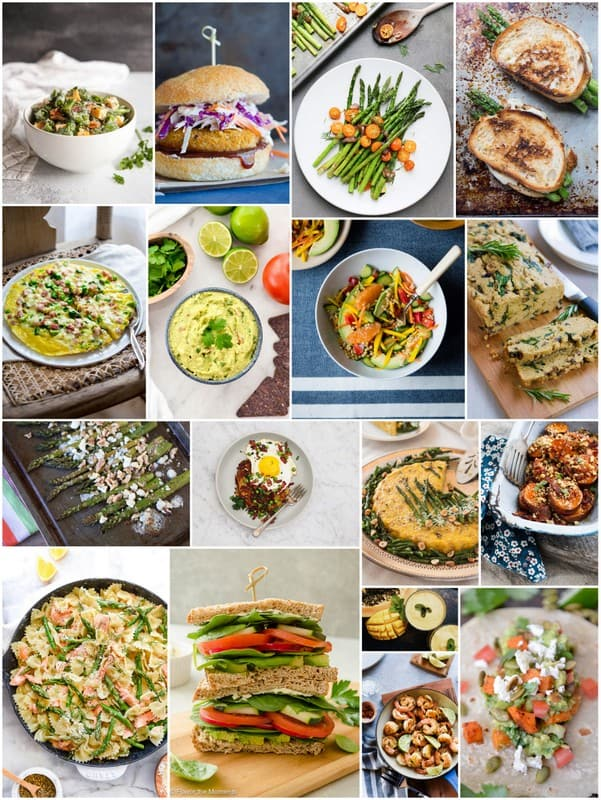 This Frittata with Ham and Asparagus is the perfect Spring meal! Ready in just 20 minutes, only 297 calories per serving, chocked full of 23 grams of protein and super kid friendly. AND you can eat it for breakfast, lunch or dinner. Healthy Seasonal Recipes and Katie Webster   Eat Seasonal Collage