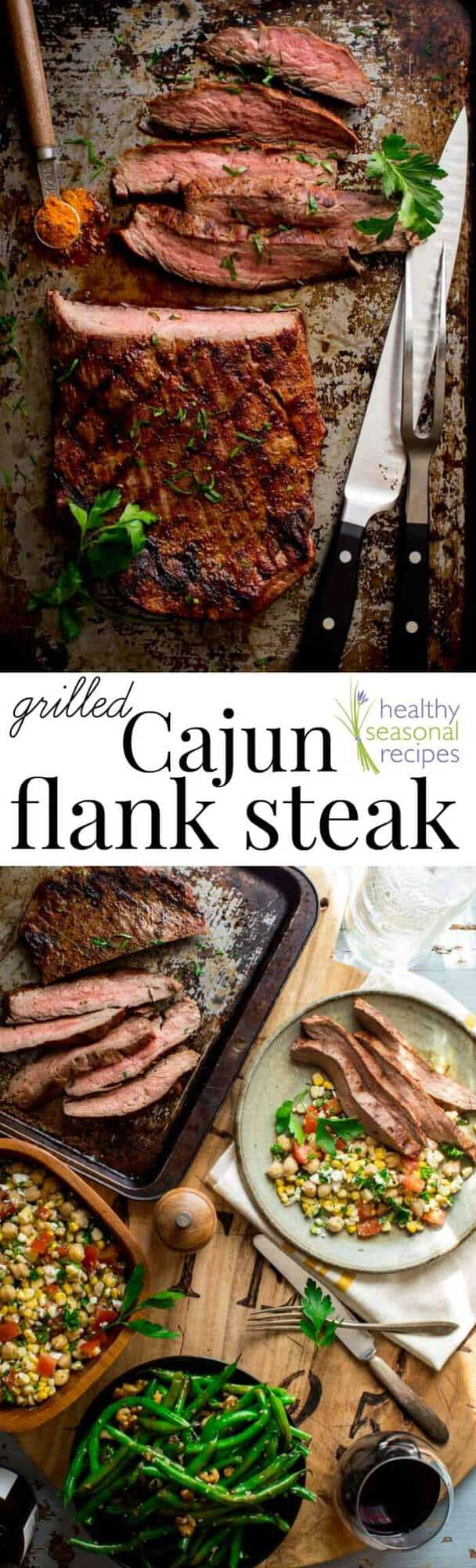 With just 3 ingredients this Cajun Flank Steak needs to be on your summer grilling menu! The incredible flavor from this super simple recipe will blow your mind! AND it's gluten free, low carb and paleo! | Healthy Seasonal Recipes #beef #paleo #primal #glutenfree #lowcarb
