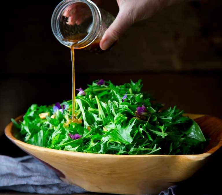 mizuna salad with peanuts