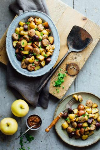 Check out this Roasted Potatoes with Apples, Sausage and Maple Mustard Glaze. With just 25 minutes of prep and only one pan you'll be able to put a delicious kid friendly dinner on the table without breaking a sweat. And it's dairy free and wheat free!   Healthy Seasonal Recipes   Katie Webster