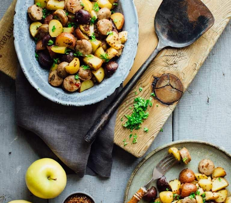 roasted potatoes with apples, sausage and maple mustard glaze